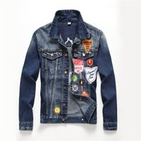 Wholesale badge embroidery designs - New Branded Hip-hop Denim Jacket Men's Trendy Embroidery Badge Single-Breasted Denim Jacket Patch Designs Unique Thick Coat Streetweer