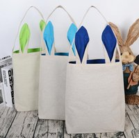 Wholesale Funny Bunnies - 5Colors Funny Design Linen Easter Bunny Bag Ears Bags Cotton Material Easter Burlap Celebration Gifts Christma Bag Canvas Handbag