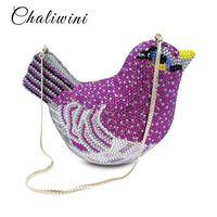 ingrosso sacchetto di tote lavanda-Fashion Animal Bird Donna Luxury Crystal Bag Wedding Clutch Purse Borsa da sera strass Borsa frizione Borsa lavanda Party