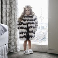 Wholesale Girls Fox Fur Coats - Children Warm Winter Faux Fox Fur Fashion Coats Black White Striped Long Section Fur Jackets European Style Slim Girl Cloth T0589