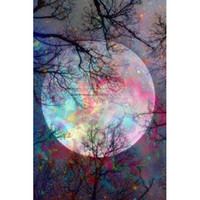 Wholesale New Forest - Forest Tree Color Full Moon Full Drill DIY Mosaic Needlework Diamond Painting Embroidery Cross Stitch Craft Kit Wall Home Hanging Decor
