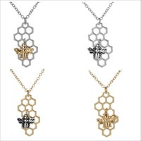 Wholesale Bee Link - Gold Pendants Necklace 2018 new Fashion Creative personality Square honeycomb alloy Little bee statement Necklace women Jewelry Accessories