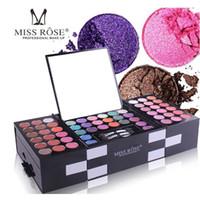 errado maquiagem profissional venda por atacado-Miss rose matte eyeshadow make up paleta profissional 142 cores sombra de sobrancelha pó blush combinação conjunto de maquiagem kit dhl livre