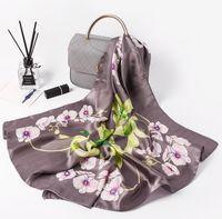 маленькие орхидеи оптовых-Женщины банданы многофункциональный шелковый шарф атласные небольшие квадратные Шали ручка мешок ленты дамы офис Foulard шейный платок роскошные орхидеи