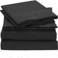 Wholesale gray queen bedding sets for sale - Bedding Set Fitted sheet Flat sheet Pillowcase US Size Solid Twin Full Queen King California King Bed sheet Set black