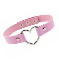 rosa lederhalsketten großhandel-Rosa Herz Ring Choker Halskette romantische Herz Leder Halsband Halskette für Frauen Mädchen Valentinstag Geschenk