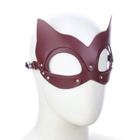 Wholesale half mask sex for sale - Great Quality PU Leather Dog Cat Ear Half Head Hood Mask Cosplay Costume Eyemask Party Mask Unisex Hollow Eye Mask Sex Toys For Couples