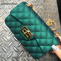Wholesale Jelly Clutch Bags - Grind arenaceous Silica Gel Female Mini Chain Jelly Bag Women Diamond Lattice Flap Girl Casual Clutch Silicone Bag Shoulder Bags