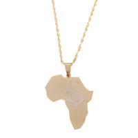 león africano al por mayor-Acero inoxidable África León Corazón Mapa Collar Colgante de Color Oro Cadena Africana Mapa de Regalo para Hombres Mujeres Joyería de Etiopía