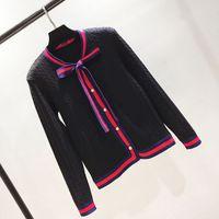 suéteres de flores para mujer al por mayor-2018 envío gratis cuello redondo rojo blanco negro Paneled suéter de diseño marca SAme Style Luxury Sweater Womens Cardigan