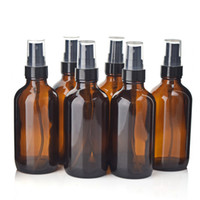 boston yuvarlak cam şişeler toptan satış-6 adet 4 Oz 120 ml Boston Yuvarlak Amber Cam Şişe Kapları Siyah Ince Mist Sprey ile Aromaterapi Temizleme Uçucu yağlar için