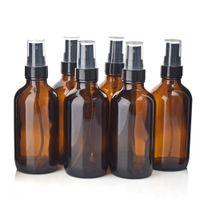 ingrosso bottiglie a spruzzo olio essenziale di vetro-6 pezzi 4 oz 120ml Boston Round contenitori di vetro ambrato con nebulizzatore nero fine spray per la pulizia di aromaterapia Oli essenziali