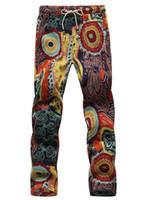 erkekler jogger pantolon toptan satış-Tafforda 2018 Yaz Tasarımcı Keten Pantolon Erkekler Baskı Casual Jogger Pantolon Boys