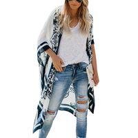 длинные летние кардиганы для женщин оптовых-New Kimono Women Cardigan Printed Batwing Sleeve Long Blouses Loose Cover Up Summer Tops Ladies Boho Shirts Tee Beach Blusas