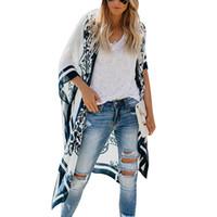 bayanlar hırkalar yazdı toptan satış-Yeni Kimono Kadınlar Hırka Baskılı Batwing Kollu Uzun Bluzlar Gevşek Cover Up Yaz Üstleri Bayanlar Boho Gömlek Tee Plaj Blusas