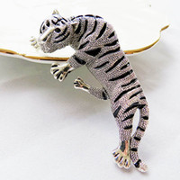 Wholesale Vintage Safety Pins - 2017 Fashion Jewelry Gold Silver Enamel Pin Metal Tiger Brooch Broches Vintage Animal Brooch Men Safety Pin Brooches For Women