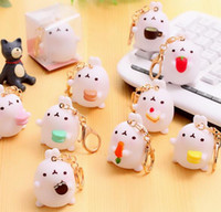 Wholesale Korean Chain Bag - 2018 new creative cute potato rabbit car decoration Korean cute rabbit key chain couple bag small pendant