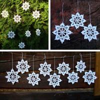 старинные украшения оптовых-10 ручной вязания крючком снежинки, рождественские украшения снежинка, белые кружева снежинки украшения старинные хлопок, рождественская елка орнамент
