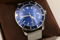 Wholesale ocean case for sale - Top AAA luxury super marine steel case metal blue dial A1732016 C734 A Ocean Classic three needle automatic stainless steel men s watch