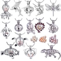 Wholesale rice pearls - Love Wish Pearl Cages Locket With Natural Rice Pearl Hollow Out Skull Turtle Angle Dragonfly Fish Goat For DIY Necklace Fashion Jewelry PP06