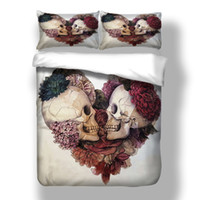 Wholesale Wongsbedline New Design Lover Skull Duvet Cover Pillow Case Twin Full Queen King Size Bedclothes