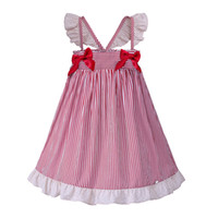 kinder mädchen kleidung design für den sommer großhandel-Pettigirl neue mädchen kleider rote streifen design sommer kinder kleid flügelhülse mit rot beugt kind kleidung