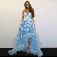 schatz asymmetrische organza prom kleider großhandel-Blau High Low A Line Ballkleider Schatz Mit 3D Blume Perlen Tiered Bottom Homecoming Kleid Asymmetrischer Saum Party Röcke