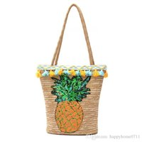 ingrosso borse vacanza-Pineapple Ananas Pattern Fringe Straw Nuove borse Europa e Stati Uniti Stile spalla borsa diagonale Paillettes Portable Beach Vacation