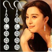 ingrosso orecchini coreani del polsino-Gli orecchini scintillanti dei monili squisiti di modo femminile squisiti orecchini sono lunghi su una versione coreana di 5 orecchino di diamante