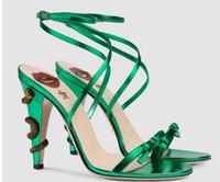 mulheres primavera primavera venda por atacado-Marca cobra stiletto saltos sandálias de 10 cm Mulheres sapatos de festa gravata-borboleta sapatos de casamento primavera verão bombas de 4 cores zapatos mujers