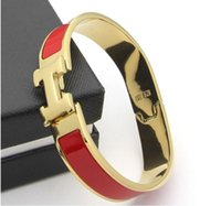 Wholesale claw bar resale online - Women s H Bangles Luxury Stainless Steel Enamel charm Bracelets Bangle H Letter Buckle High quality Bracelets