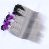 черный серый омбре переплетения оптовых-Два тона 1b серый Ombre прямые пучки волос с закрытием кружева черный серый Ombre бразильский человеческих волос ткет и закрытия