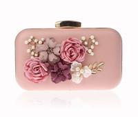 bolsa rosa pérola venda por atacado-2018 Novo Designer 3D Flor Sacos De Noite de Casamento Bolsa de Cadeia de Pérolas Saco de Cadeia Linda Rosa Banquete Saco de Embreagem