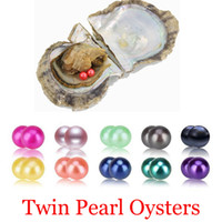Wholesale red flower gift - 2018 AAA 6-7mm Seawater akoya oyster with Twins pearls Mixed 25 colors Top quality Circle natural pearl in Vacuum Package For Jewelry Gift