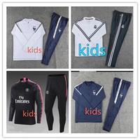 Wholesale children's suit jacket online - Real Madrid tracksuit kids soccer jogging jacket MBAPPE NEYMAR JR POGBA child Football Training suit Juventus World Cup