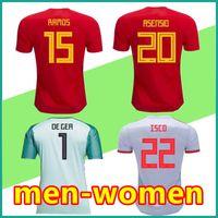 Wholesale Soccer Jersey Goalkeeper - 2018 Spain Soccer Jersey World Cup men Women INIESTA RAMOS ISCO Spain national goalkeeper DE GDA Football Shirt ASENSIO SERGIO TORRES S-4XL
