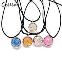 Wholesale vintage dried flowers - Handmade Dried Flower Daisy Necklace Long Necklaces White Round Glass Ball Pendant Chain Boho Transparent Resin Vintage Summer Jewelry