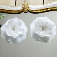 perlen blumen materialien großhandel-Französisch 3D Blume Spitze Applikationen mit Perlen Hochzeit Kleid DIY Materialien Kostüm Zubehör DZ07