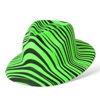colores de estampado de cebra al por mayor-5 colores neón impreso pvc top hat plástico fiesta sombrero envío gratis cebra Unsex-rayas