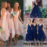 Wholesale Tea Length Dresses Lace Blush - Bridesmaid Dresses 2018 New Style Elegant Tea Length Blush Pink Lace Irregular Hem V Neck Maid of Honor Country Wedding Guest Gowns