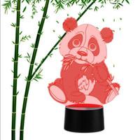 ingrosso luci di notte panda-Panda Shape 3D LED Night Light 7 colori illuminazione cambia tavolo lampada da tavolo per bambini regalo # R42