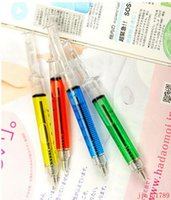 Wholesale Plastic Advertising - 500pcs Creative Ballpoint Pens syringe needle Ballpoint Pens needle ball pen trick of children's toys prize for students Advertising Gifts