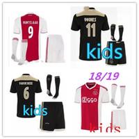 Wholesale kids football uniforms set - Ajax kids Soccer Jersey 18 19 Ajax FC ADULT kit Jerseys away KITS 2018 2019 Customized KLAASSEN NOURI football uniform FULL SET WITH SOCKS