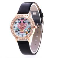 relógios de pulso venda por atacado-Árvore de coruja padrão de quartzo relógios pu pulseira de couro mostrador redondo relógio de pulso mulheres cronógrafo negócio na moda sweety presente casual