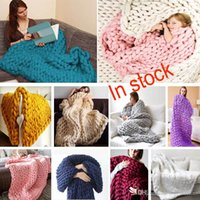Wholesale Knitting Yarns Crochet Threads Wholesale - 60*60cm Warm Chunky Knit Blanket Thick Woven Yarn Wool Bulky Knitted Throw Kinitted Throw Photograph Blanket 16 Color Free EMS XL-384