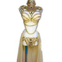 бюстгальтеры для платья оптовых-Сценическая одежда выпускного вечера сексуальный блесток золото горный хрусталь наряд бюстгальтер короткая юбка кристалл дизайн вечернее платье Dj певица костюм ночной клуб