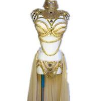 Wholesale women costume bra online - Stage Wear Prom Sexy Sequin Gold Rhinestone Outfit Bra Short Skirt Crystal Design Party Dress Dj Female Singer Nightclub Costume