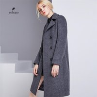 damen lange länge wollmäntel großhandel-2018 weibliche weibliche Trenchcoat aus Wolle, edle Damen-Doppelbrust Lange, schlanke Wollmischungen, Bürodame warm langen Mantel