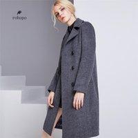 ingrosso cappotti di lana lunghi di signora-Trench coat invernale femminile in lana 2018, doppiopetto da donna nobile, misto lana lunga lunghezza al ginocchio, cappotto da donna caldo cappotto lungo