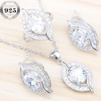 ingrosso gioielli in pietra bianca-Wedding White Zircone Argento 925 Set di gioielli da donna Orecchini con pietre PendantNecklace Anelli Set gioielli Gift Box
